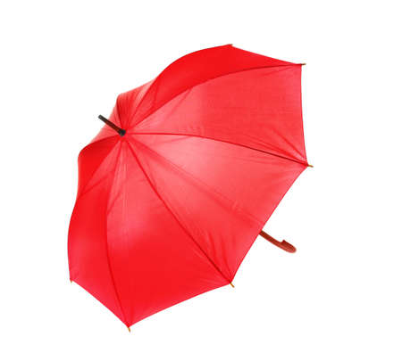 Modern opened red umbrella isolated on white Standard-Bild