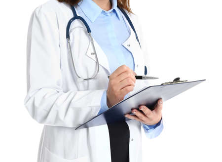 Doctor with clipboard in uniform on white background, closeup. Medical service