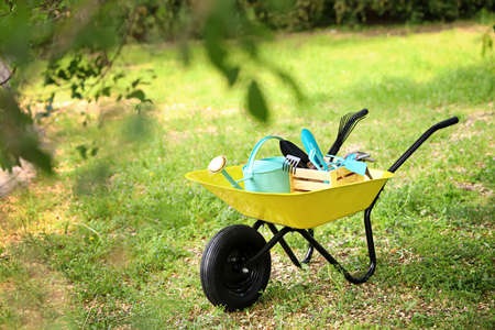 Wheelbarrow with gardening tools on grass outside. Space for text