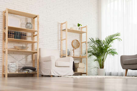 Wooden storage in stylish living room. Idea for interior design Stock fotó