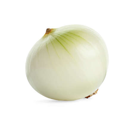 Fresh peeled onion bulb on white background