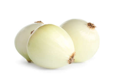 Fresh peeled onion bulbs on white background