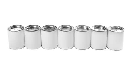 Closed blank cans of paint isolated on white background