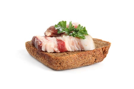 Pork fatback sandwich with parsley isolated on white
