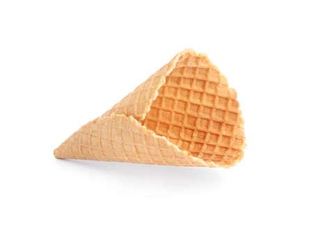 Empty wafer ice cream cone on white background