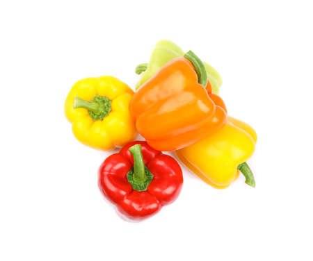 Fresh ripe bell peppers on white background, top view