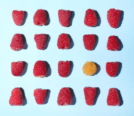 Flat lay composition with delicious ripe raspberries on blue background