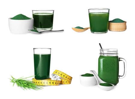 Set with spirulina drinks on white background. Super food Stock Photo