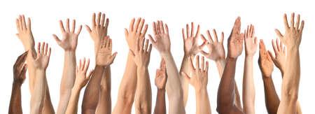 Collage di persone che mostrano le mani su sfondo bianco, primo piano