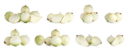 Set of raw onions on white background