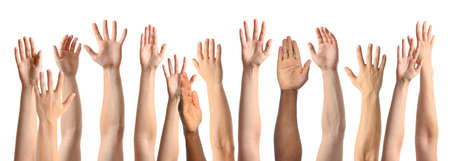 Collage of people showing hands on white background, closeup view