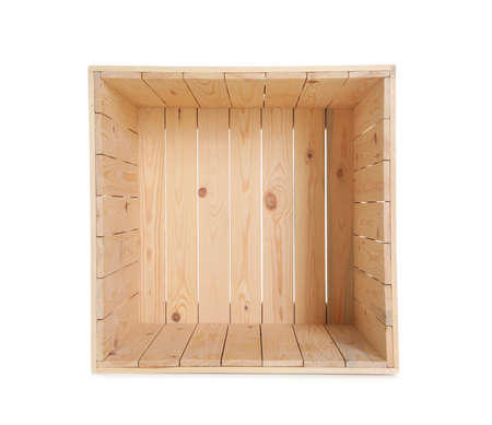 Open empty wooden crate isolated on white