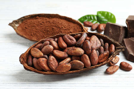 Cocoa pods of beans and powder on white table Stockfoto - 127758078