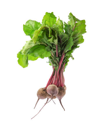 Bunch of fresh beets with leaves on white background