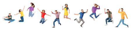 Collage of emotional people jumping on white background. Banner design Stock fotó