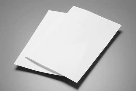 Hojas de papel en blanco para folleto sobre fondo gris. Bosquejo Foto de archivo