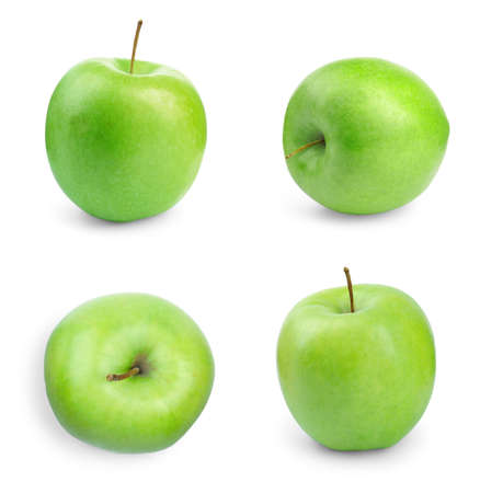 Set of juicy fresh green apples on white background 写真素材