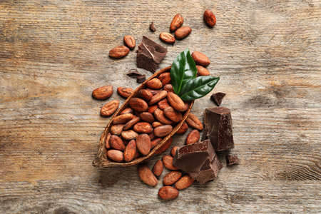 Flat lay composition with cocoa beans and chocolate pieces on wooden table Archivio Fotografico
