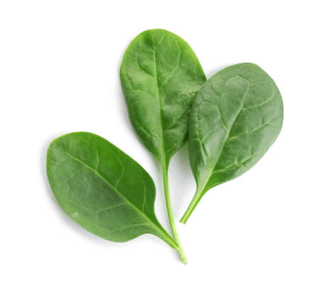 Fresh green leaves of healthy baby spinach on white background, top view