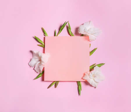 Beautiful gladiolus flowers and blank card on pink background, flat lay. Space for text Stock fotó