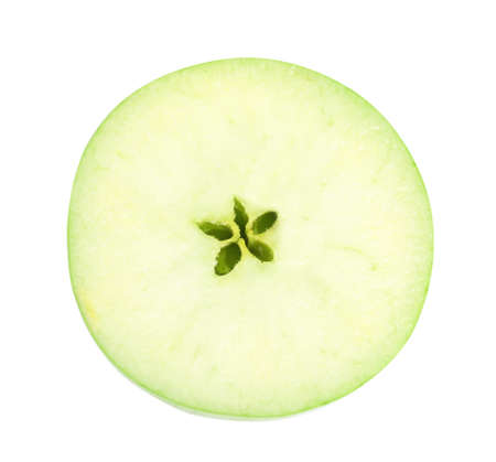 Half of fresh green apple on white background, top view