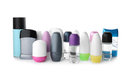 Set of different deodorants on white background