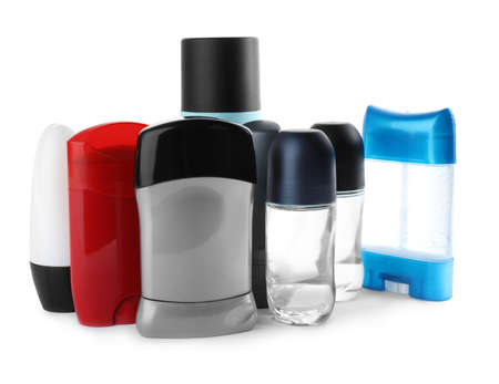 Set of different male deodorants on white background