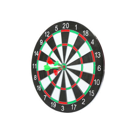 Dart board with color arrows hitting target