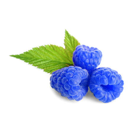 Fresh sweet blue raspberries and green leaves on white background
