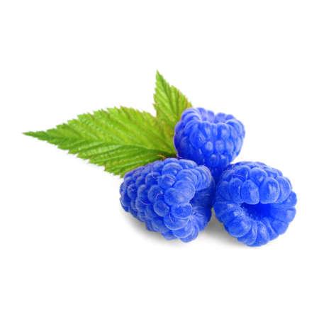 Fresh sweet blue raspberries and green leaves on white background 免版税图像
