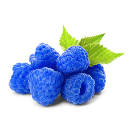 Fresh sweet blue raspberries and green leaves on white background