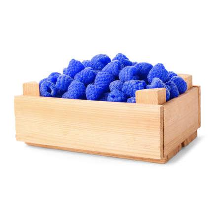 Fresh sweet blue raspberries on white background Imagens
