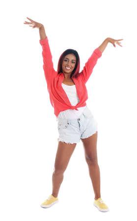 Beautiful Hispanic woman dancing on white background