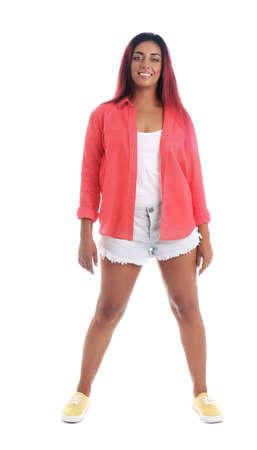 Beautiful Hispanic woman posing on white background Stock Photo