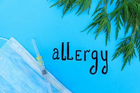 Ragweed (Ambrosia), word ALLERGY and medication on blue background, flat lay