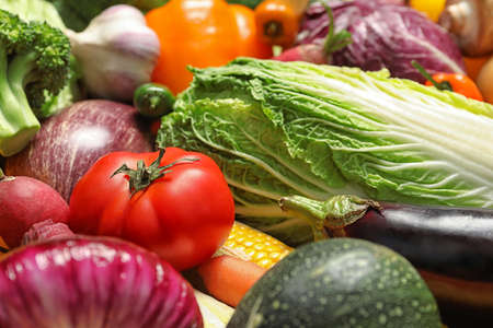 Many different fresh vegetables as background, closeup