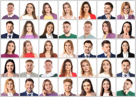 Collage mit Porträts von emotionalen Menschen auf weißem Hintergrund