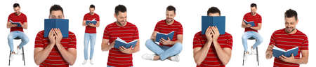 Collage of man reading book on white background. Banner design