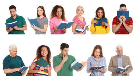 Collage of people reading books on white background