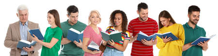 Collage of people reading books on white background. Banner design