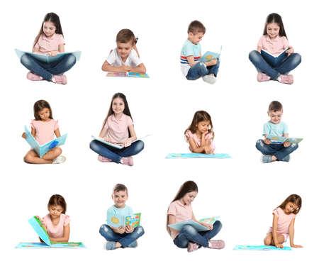 Collage de niños leyendo libros sobre fondo blanco.