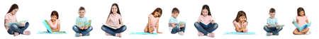 Collage of children reading books on white background. Banner design
