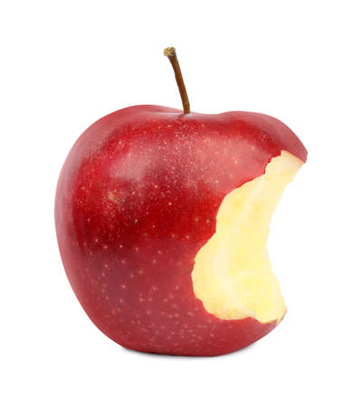 Ripe juicy red apple with bite mark on white background