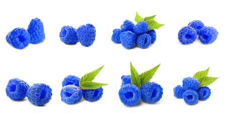 Set of fresh sweet blue raspberries on white background. Banner design