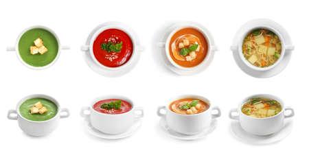 Satz verschiedene frische hausgemachte Suppen auf weißem Hintergrund. Banner-Design Standard-Bild