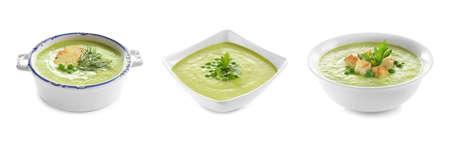 Set of fresh homemade pea soup on white background. Banner design Stock Photo
