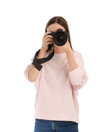 Professional photographer taking picture on white background
