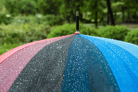 Bright modern umbrella under rain in green park, closeup