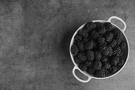 Bowl of tasty ripe blackberries on grey table, top view with space for text