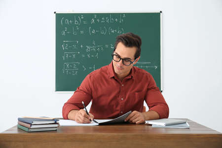 Young teacher working at table in classroom